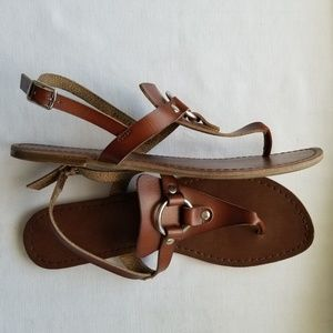 Womens Triangle Brown Buckle Sandals Size 6